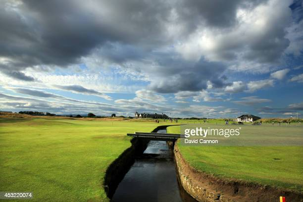 A view of the Swilcan Burn which runs in front of the green on the par 4 1st hole on the Old Course at St Andrews venue for The Open Championship in...