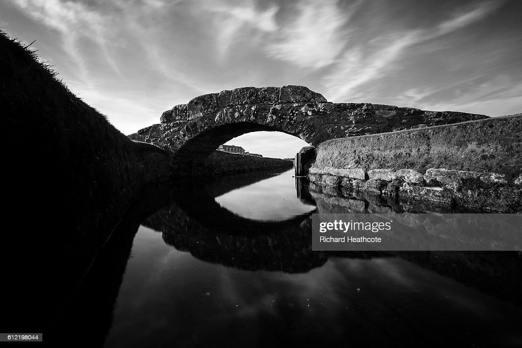 A view of the Swilken Bridge on the 18th hole of The Old Course during a practise day for the Alfred Dunhill Links Championship at The Old Course on October 3, 2016 in St Andrews, Scotland.