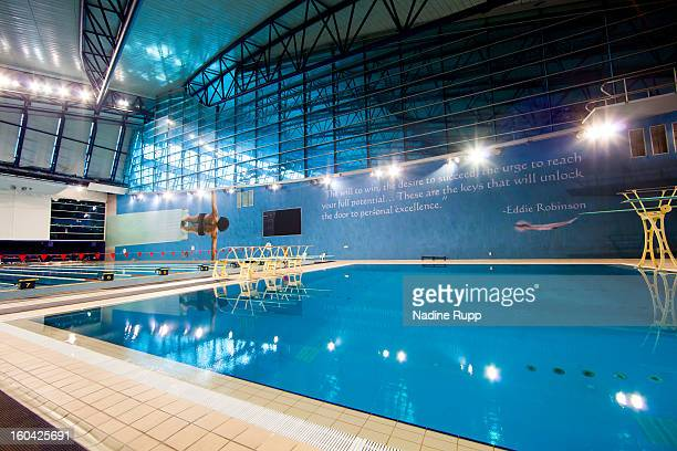 View of the swimming pool at the indoor hall is taken at the ASPIRE Academy for Sports Excellence on January 6, 2013 in Doha, Qatar. ASPIRE Zone,...