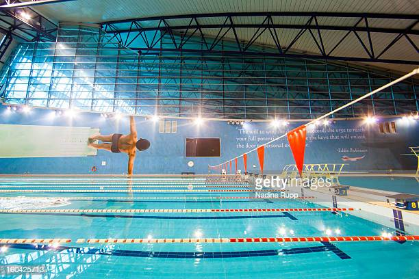 View of the swimming pool at the indoor hall is taken at the ASPIRE Academy for Sports Excellence on January 6 2013 in Doha Qatar ASPIRE Zone also...