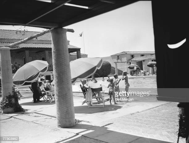 View of the swimming pool at the Southampton Bathing Corporation Southampton New York 1950s