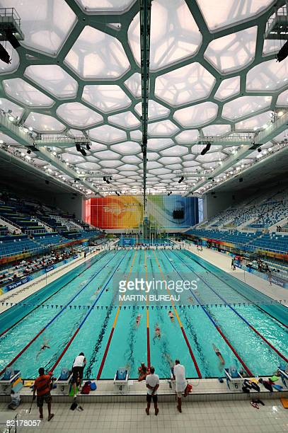 View of the swimming pool during a training session at the national aquatics center in preparation for the upcoming 2008 Beijing Olympic Games in...