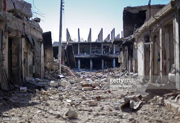 View of the Syrian town of Kobani where clashes between ISIL militants and Kurdish armed groups continue, on November 07, 2014.