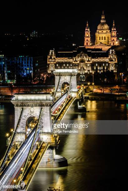 View of the Széchenyi Chain Bridge from the top at night