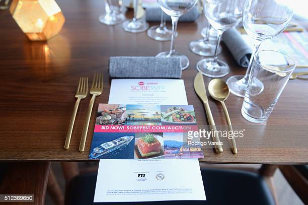 A view of the table at a Dinner Hosted By Francis Mallmann And Paul Qui during 2016 Food Network Cooking Channel South Beach Wine Food Festival...