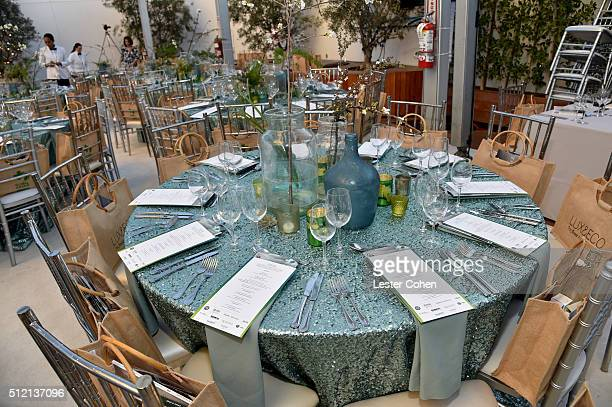 A view of the table setting at Global Green USA's 13th annual preOscar party at Mr C Beverly Hills on February 24 2016 in Los Angeles California