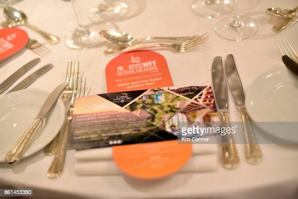 A view of the table setting during a Dinner with Paul Kahan and Marc Vetri part of the Bank of America Dinner Series presented by The Wall Street...