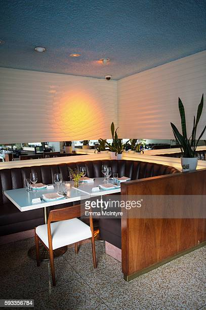 A view of the table settings at the Alma Restaurant at the Women of Cinefamily weekend closing party at The Standard Hollywood on August 21 2016 in...