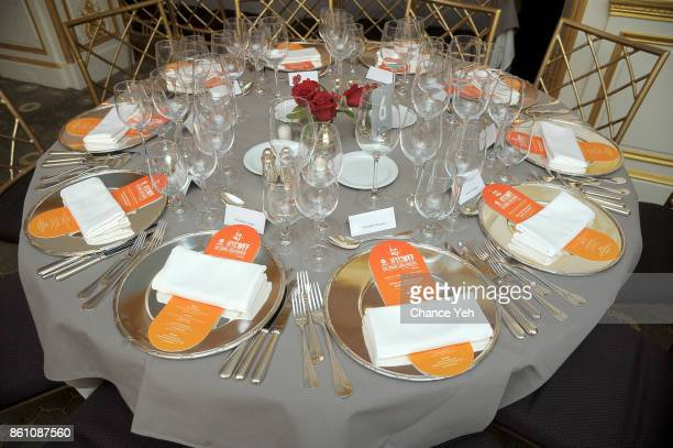 A view of the table settings during a Dinner with Dominique Crenn and Alex Guarnaschelli part of the Bank of America Dinner Series presented by The...