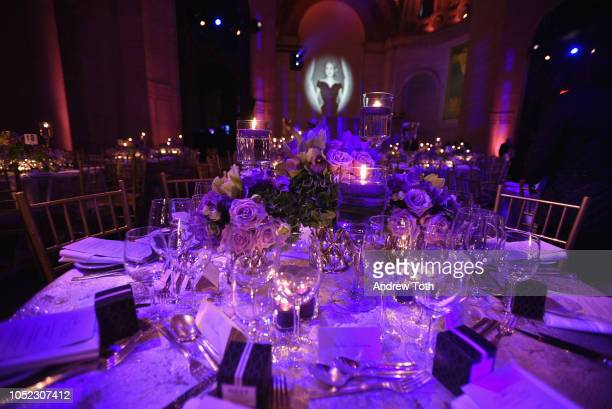 A view of the table settings during the 2018 Princess Grace Awards Gala at Cipriani 25 Broadway on October 16 2018 in New York City