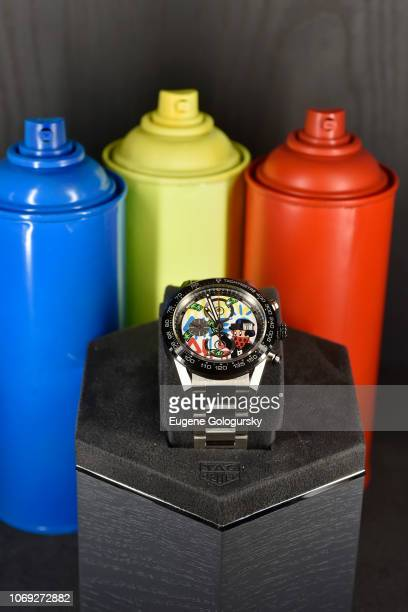 A view of the TAG Heuer Alec Monopoly Carrera Heuer01 Special Edition chronograph timepiece at the TAG Heuer celebration of Art Basel Miami 2018 with...