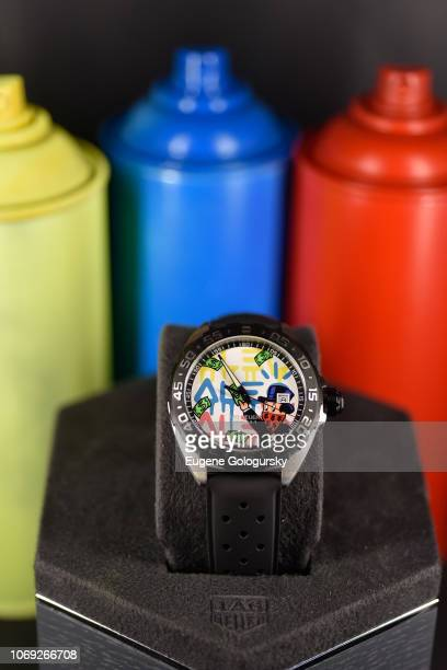 A view of the TAG Heuer Alec Monopoly Formula 1 Special Edition timepiece at the TAG Heuer celebration of Art Basel Miami 2018 with the launch of...