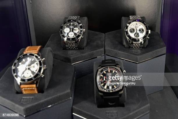 A view of the TAG Heuer Heritage Collection during the TAG Heuer Gran Turismo Event at Sony Square on November 15 2017 in New York City