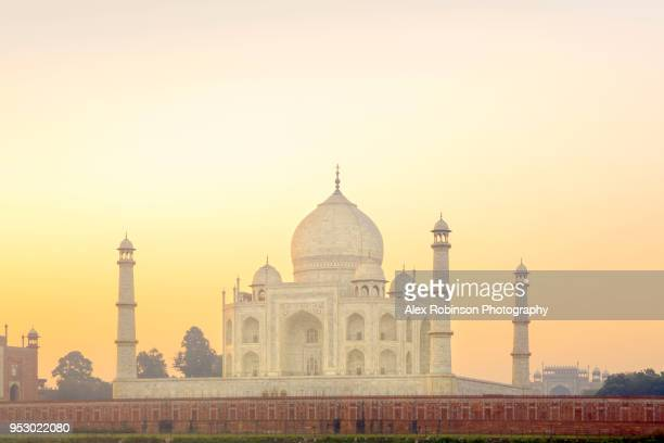 view of the taj mahal at dawn - place concerning death stock pictures, royalty-free photos & images