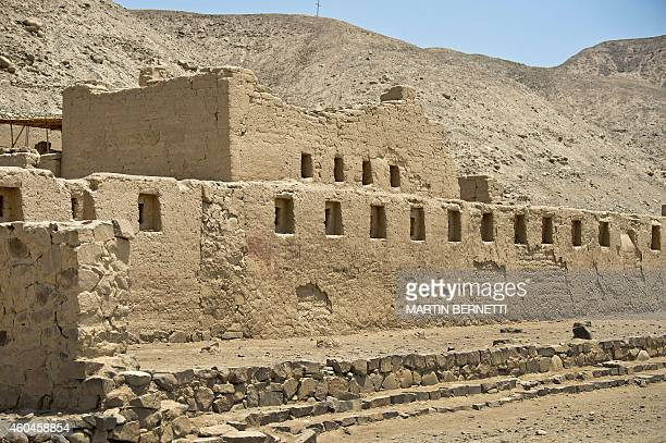 A view of the Tambo Colorado ruins in the Pasco River Valley in Pisco Ica some 300 km south of Lima Peru on December 13 2014 The ruins date to the...