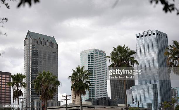 View of the Tampa, Florida skyline from a vantage point near the Tampa Bay Times Forum where the Republican National Convention will be held.
