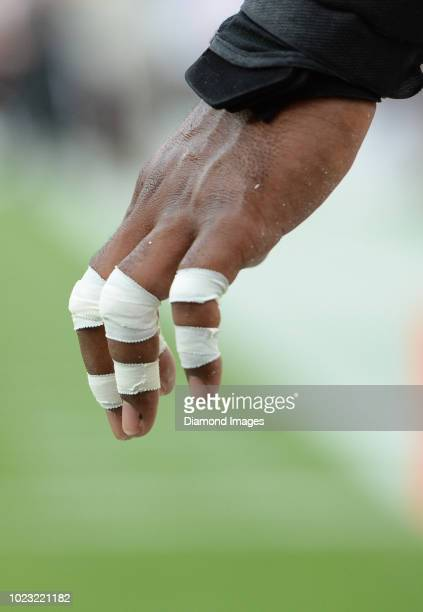View of the taped fingers of defensive end Nate Orchard of the Cleveland Browns prior to a preseason game against the Buffalo Bills at FirstEnergy...