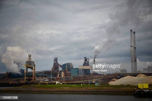 View of the Tata Steel plant from a sluice on August 22, 2021 in Ijmuiden. The Tata steel plant is under investigation by the Dutch Public...