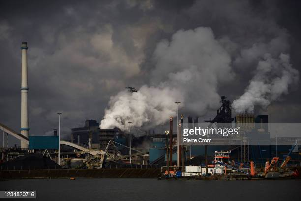 View of the Tata Steel plant on August 20, 2021 in Velsen-Noord. The Tata steel plant is under investigation by the Dutch Public Prosecution Service...