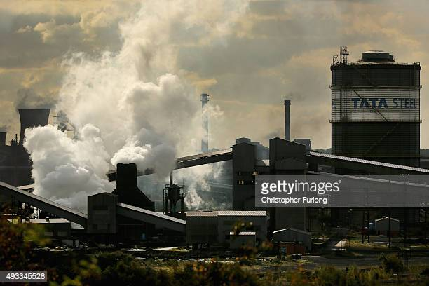 A view of the Tata Steel processing plant at Scunthorpe which may make 1200 workers redundant on October 19 2015 in Scunthorpe England Up to one in...