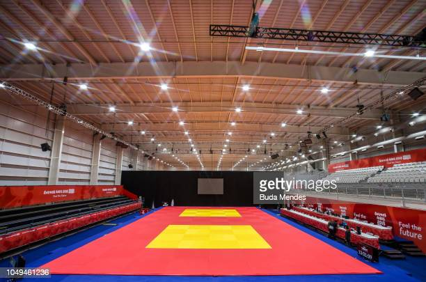 View of the tatamis for judo competitions at Asia Pavilion ahead of the Buenos Aires 2018 Youth Olympic Games on October 04, 2018 in Buenos Aires,...