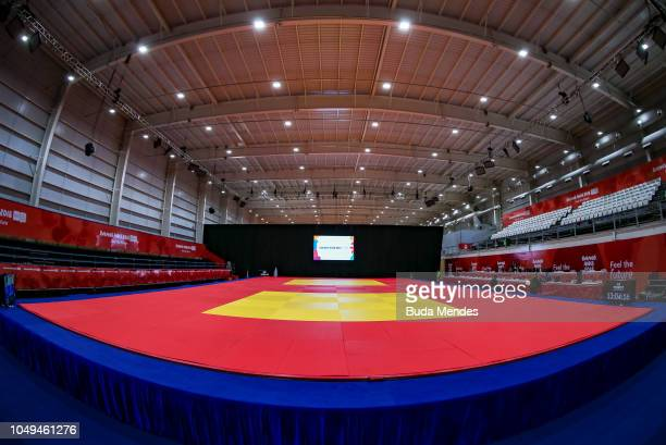 View of the tatamis for judo competitions at Asia Pavilion ahead of the Buenos Aires 2018 Youth Olympic Games on October 04 2018 in Buenos Aires...