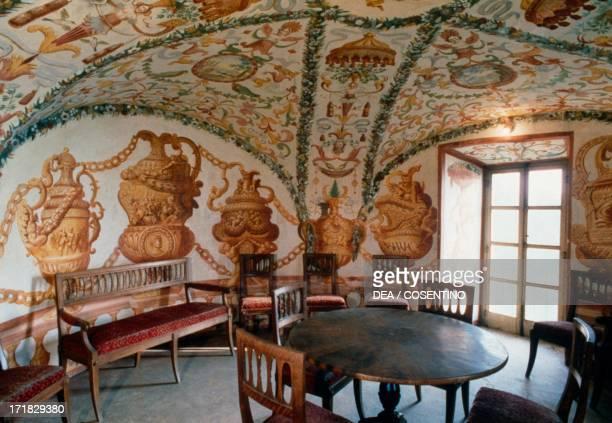 View of the tea room Masino Castle Caravino Piedmont Italy