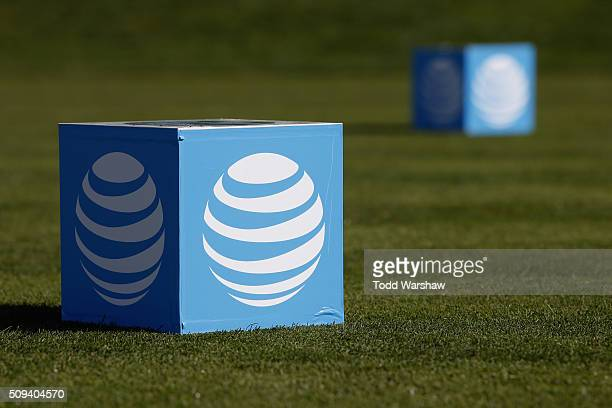 View of the tee marker on the 18th tee box during practice for the AT&T Pebble Beach National Pro-Am at Pebble Beach Golf Links on February 9, 2016...