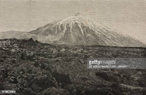View of the Teide Canary Islands Spain engraving after a photo from L'Illustrazione Italiana Year XX No 7 February 12 1893