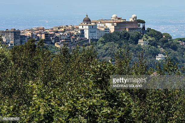 A view of the telescope domes on the roof of the Vatican Astronomical Observatory 'Specola Vaticana' at the Apostolic Palace in Castel Gandolfo on...
