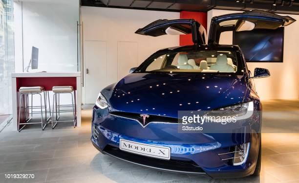 A view of the TELSA Model X is seen at their showroom on August 15 2018 in Hong Kong Hong Kong