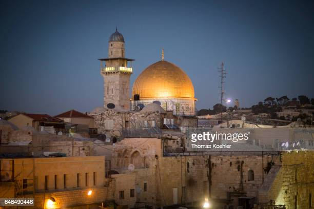 View of the Temple Mount with the Dome of the Rock Historic city center of Jerusalem on February 08 2017 in Jerusalem Israel