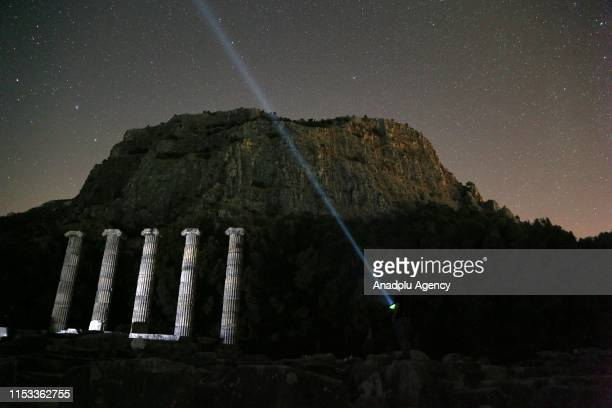 A view of the Temple of Athena Polias during night time at Priene ancient city in southwestern province of Aydin Turkey on July 3 2019 Priene ancient...