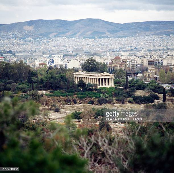 View of the Temple of Hephaestus and the agora Athens Greece Greek civilisation 5th century BC