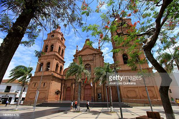 View of the Temple of the Cathedral Basilica of San Lorenzo located in the Plaza 24 de septiembre in the city of Santa Cruz de la Sierra Bolivia on...
