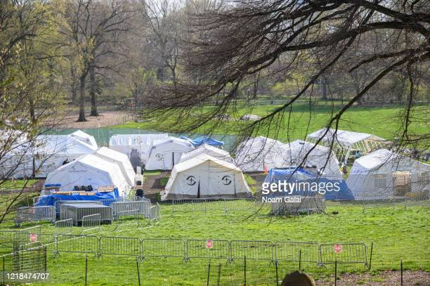 A view of the temporary hospital on the East Meadow lawn in Central Park during the coronavirus pandemic on April 12 2020 in New York City COVID19...