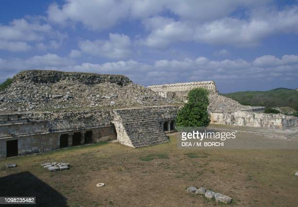 View of The Teocalli with the Palace of Masks in the background archaeological site of Kabah Puuc Yucatan Mexico Mayan civilization