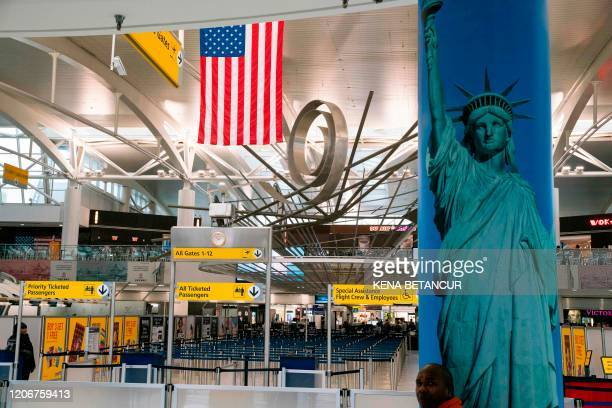 View of the Terminal 1 section is seen at John F. Kennedy International Airport on March 12, 2020 in New York City. - US President Donald Trump...