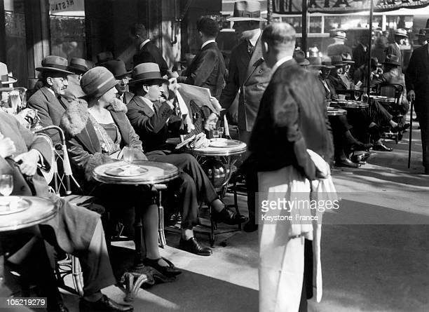 View Of The Terrace Of The Cafe De La Paix In Paris In November 1928