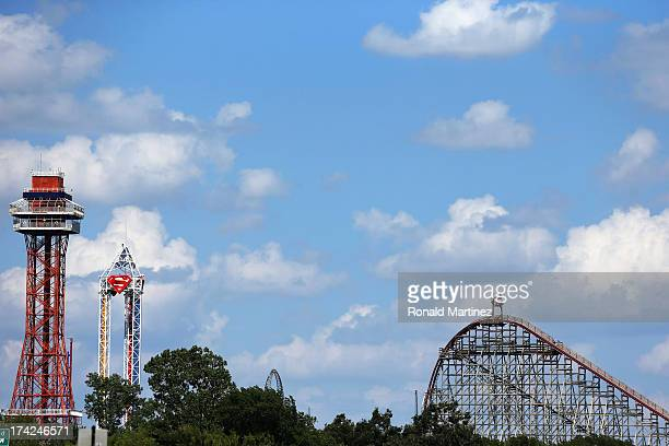 View of The Texas Giant roller coaster at Six Flags Over Texas on July 22, 2013 in Arlington, Texas. A woman fell to her death after falling out of...