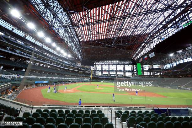 View of the Texas Rangers during an intrasquad game during Major League Baseball summer workouts at Globe Life Field on July 09, 2020 in Arlington,...