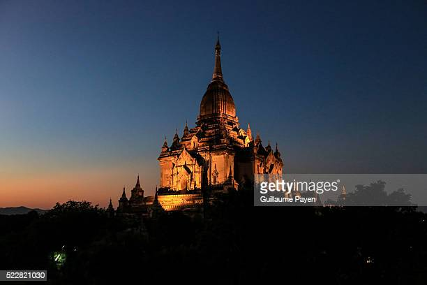 A view of the Thabinnyu pagoda in the Bagan Archaeological Zone as the sun goes down The city used to be the capital of the Kingdom of Pagan which...