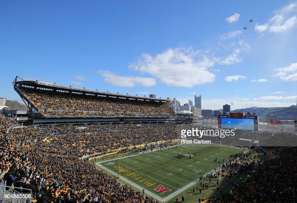 A view of the the field during a fly over by F16 jets before kickoff of the AFC Divisional Playoff game between the Pittsburgh Steelers and the...