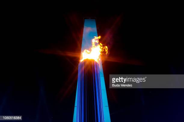 View of the the Olympic Cauldron and the Obelisco Monument during the opening ceremony of the Buenos Aires 2018 Youth Olympic Games on October 06...