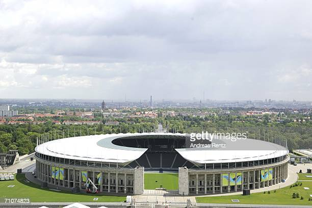 A view of the the Olympic Stadium seen on May 29 2006 in Berlin Germany The World Cup taking place in Germany from June 9 to July 9 2006 The Final...