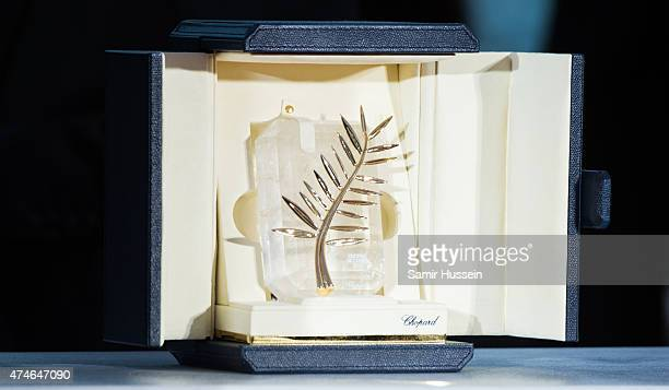 View of the the Palme d'Or trophy at photocall for the winners of the Palm D'Or during the 68th annual Cannes Film Festival on May 24, 2015 in...