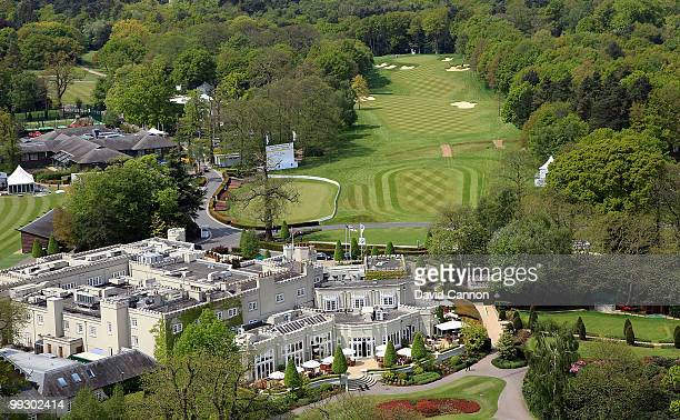 A view of the the par 4 1st hole with the clubhouse complex in the foreground on the recently renovated West Course at the Wentworth Club venue for...