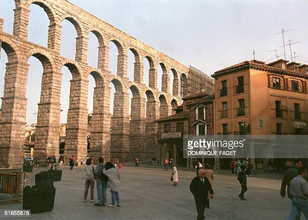 View of the The Roman aqueduct old of 2000 years in Segovia shot 12 March 1998 The city of Segovia 70 km North of Madrid is classified as a World...