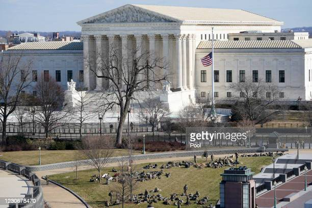 View of the the Supreme Court ahead of the inaugural ceremony for President-elect Joe Biden and Vice President-elect Kamala Harris on January 19,...