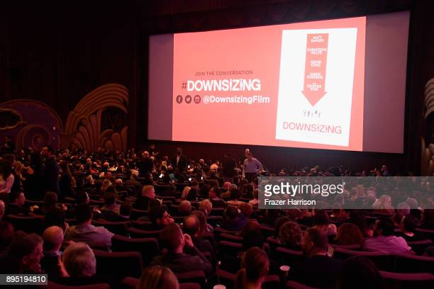 A view of the theater during the Los Angeles Special Screening of 'Downsizing' at The Regency Village Theatre on December 18 2017 in Westwood CA